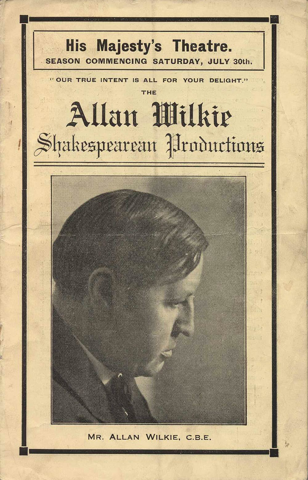 <em>The Allan Wilkie Shakespearean productions</em>. His Majesty's Theatre, Dunedin, July 30, 1927.