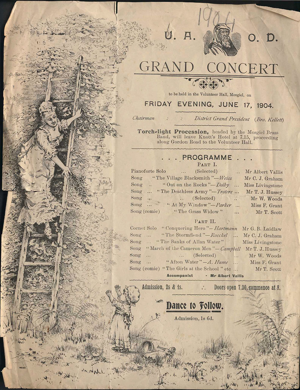<em>U.A.O.D. grand concert</em>. (United Ancient Order of Druids). Volunteer Hall, Mosgiel, June 17, 1904.