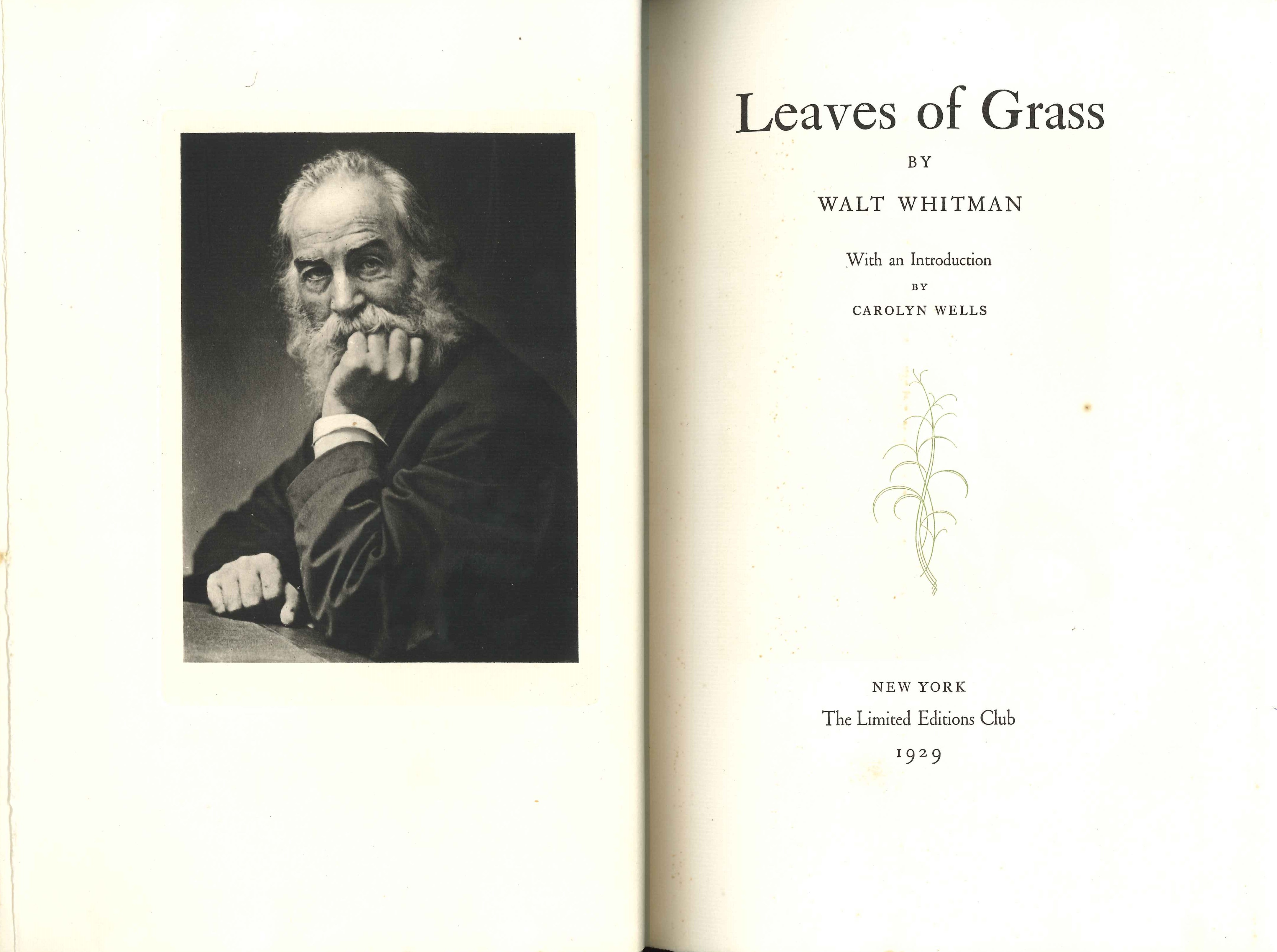 Walt Whitman. Leaves of Grass. New York: Limited Editions Club, 1929.