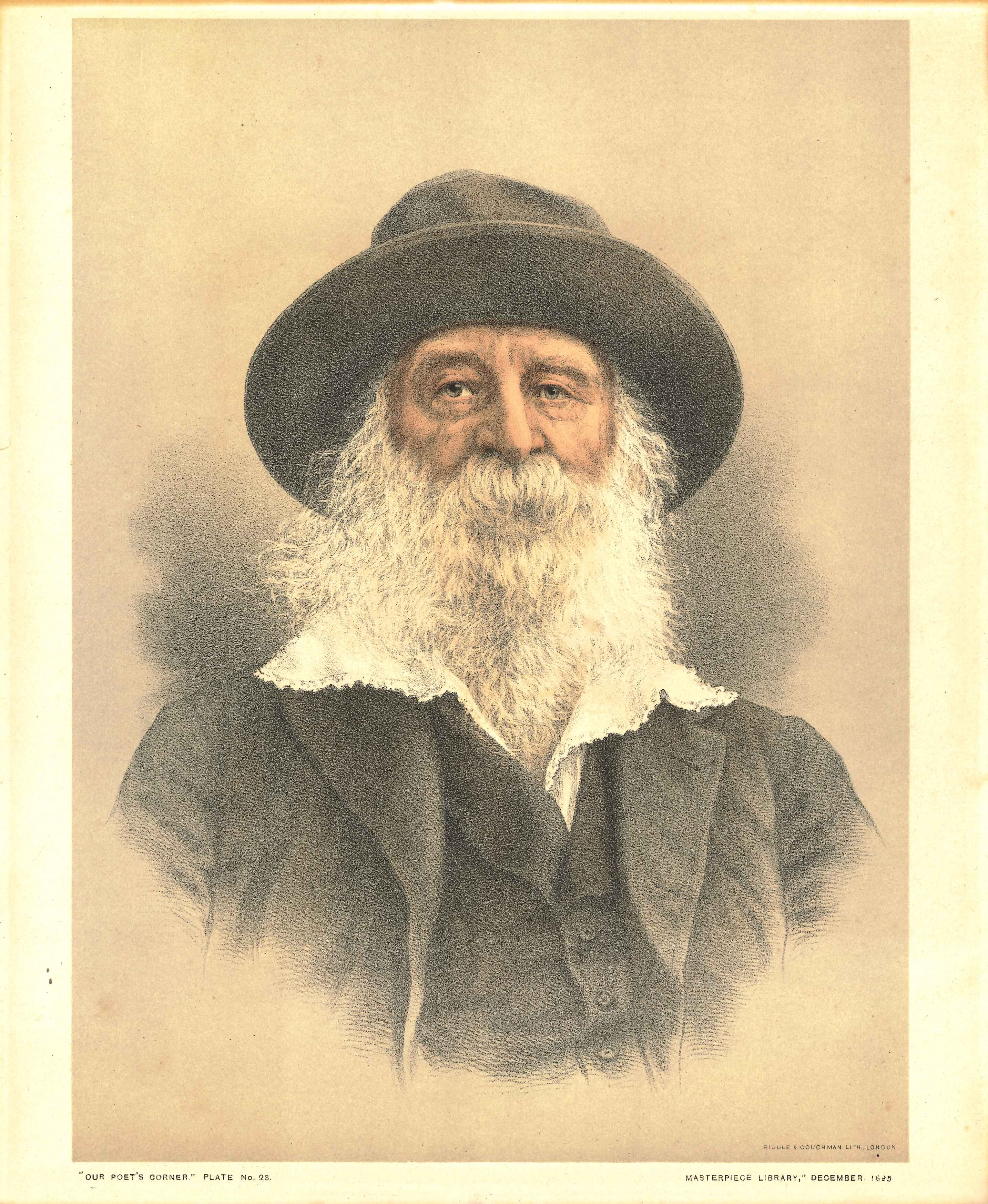 Lithograph portrait of Walt Whitman. From Our Poets' Corner: A Portrait Album of Famous Poets. London: Review of Reviews, December 1895.