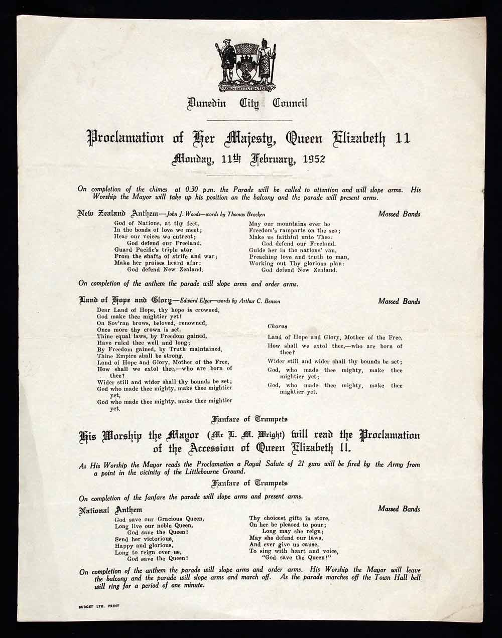 Proclamation of Her Majesty, Queen Elizabeth II; Monday 11th February, 1952. Dunedin: Dunedin City Council, [1952].