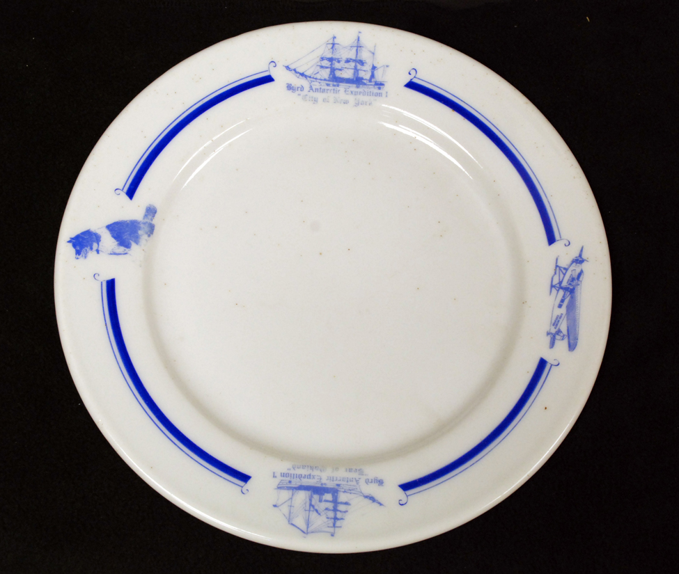 Memorabilia from the Byrd Antarctic Expedition, ca. late 1920s to early 1930s; plate.