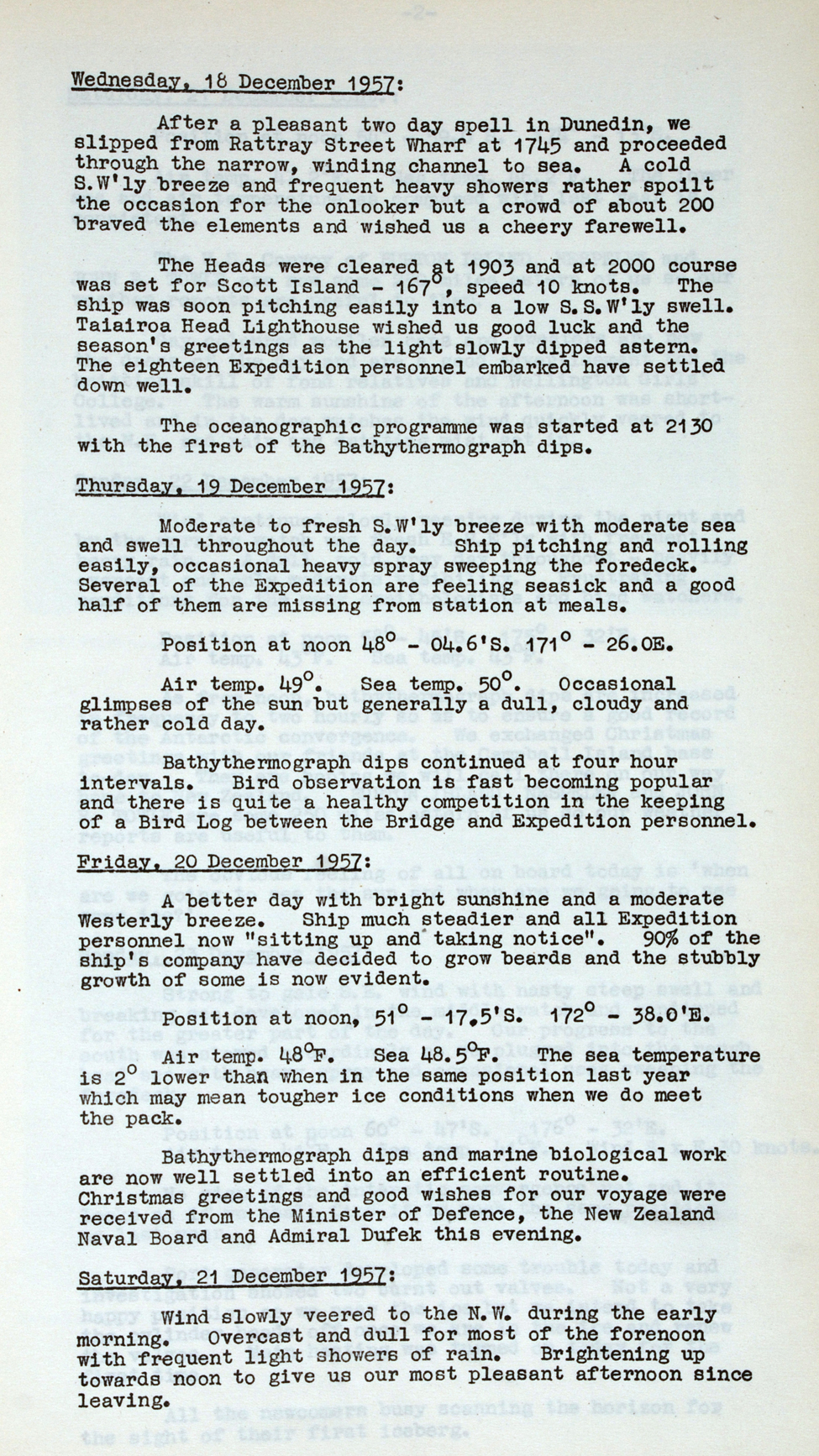 <i>H.M.N.Z.S. Endeavour: Report of Proceedings …in Support of the Commonwealth Trans-Antarctic & N.Z.I.G.Y. Expeditions, December 1957–March 1958.</i> [Wellington: New Zealand Navy Office, 1958.]