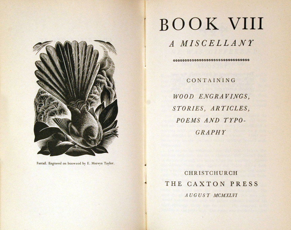 Book: A Miscellany, Vol. VIII.<i> Christchurch: The Caxton Press, August 1946.</i>