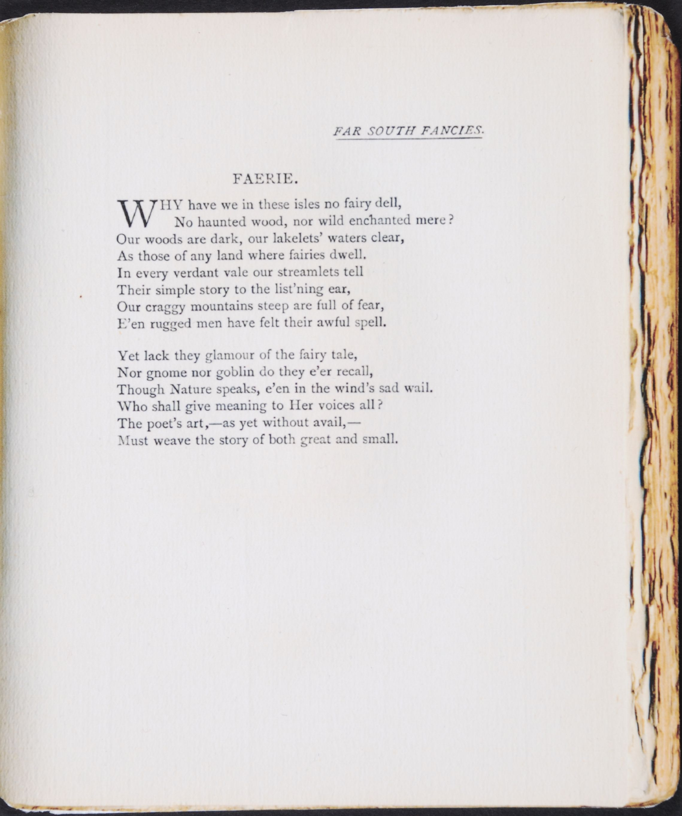 Alexander Bathgate. Far south fancies. London: Griffith, Farran, Okeden & Welsh [1890].
