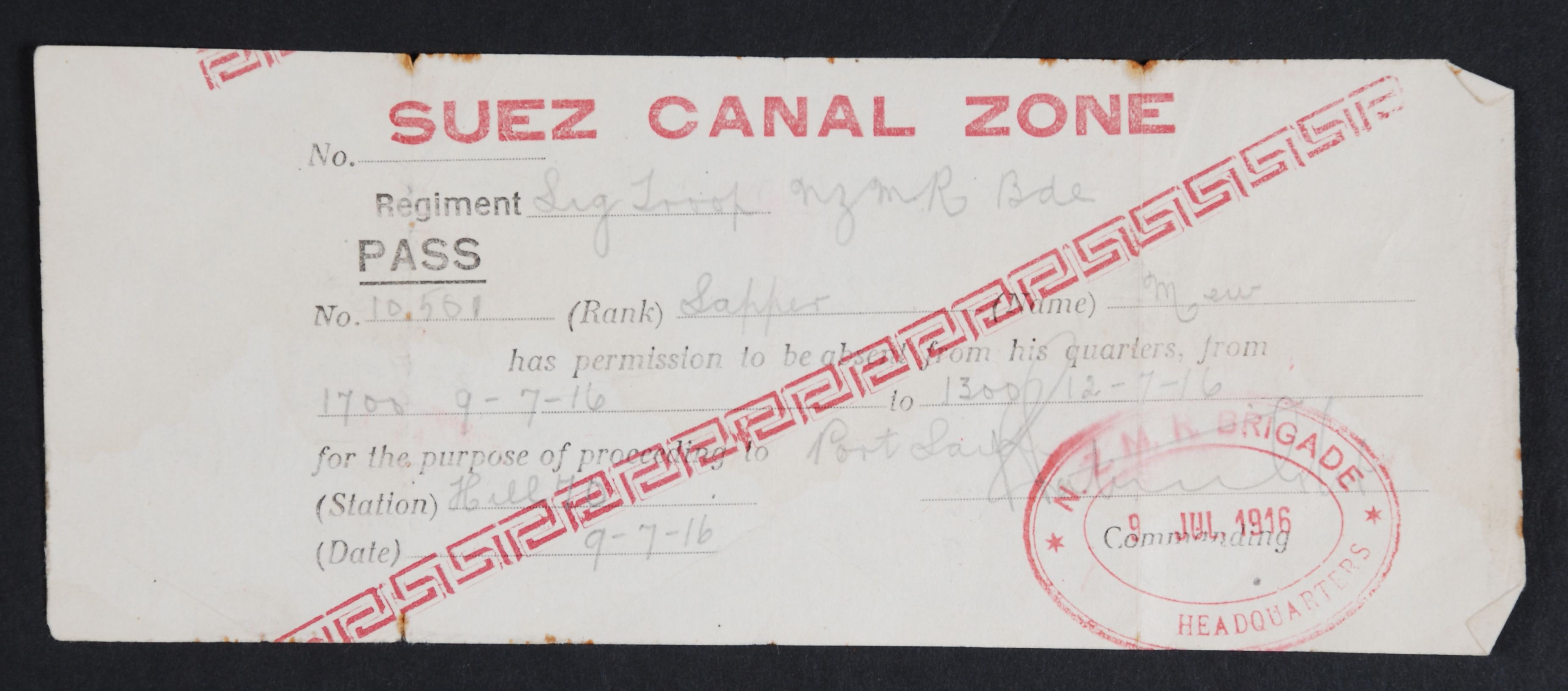 Suez Canal Zone Pass. NZMR Brigade Headquarters, 1916