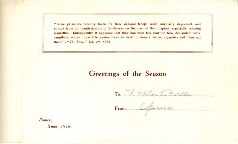 Roberts. Christmas Card. France, 1918