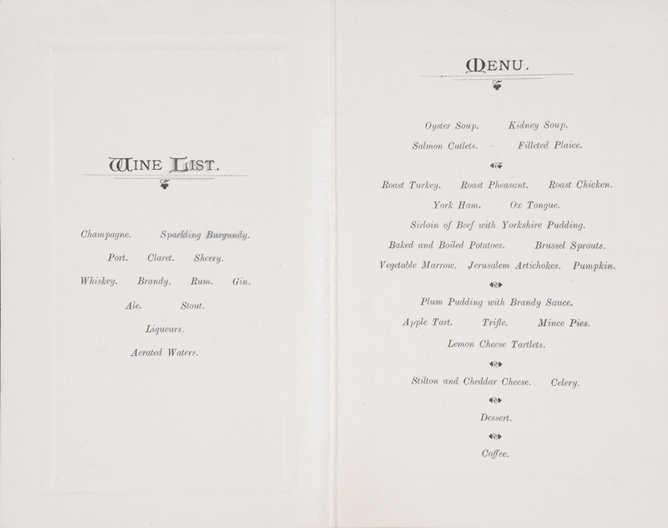 Menu. New Zealand (Command) Depot. Codford, England, Christmas 1917
