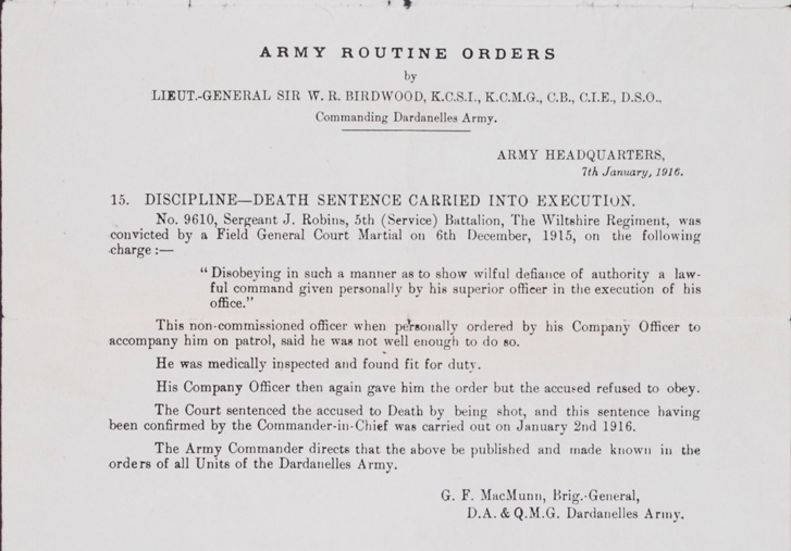 Death Sentenced Carried into Execution. Army Routine Orders 15. 7 January 1916