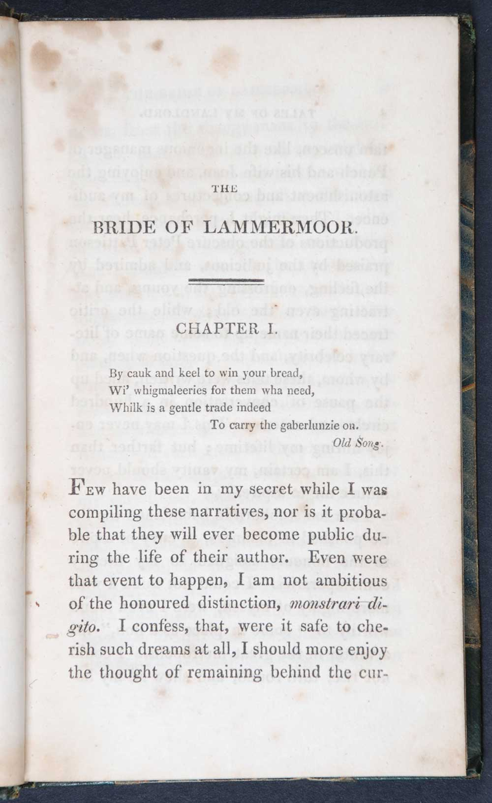 [Sir Walter Scott]. <em>Tales of my landlord: third series.</em> [1st edition]. Edinburgh: Printed for Archibald Constable and Co., Edinburgh; Longman, Hurst, Rees, Orme and Brown … ; and Hurst, Robinson and Co., London, 1819. Four volumes; Vol. 1 displayed.