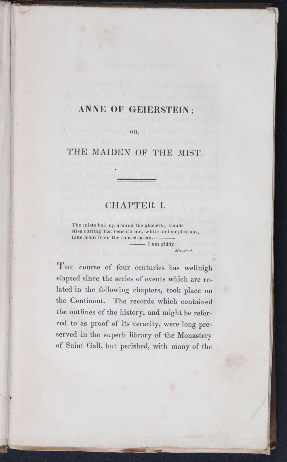 [Sir Walter Scott]. <em>Anne of Geierstein, or, The maiden of the mist.</em> [1st edition]. Edinburgh: Printed for Cadell and Co., Edinburgh; and Simpkin and Marshall, London, 1829. Three volumes; Vol. 1 displayed.
