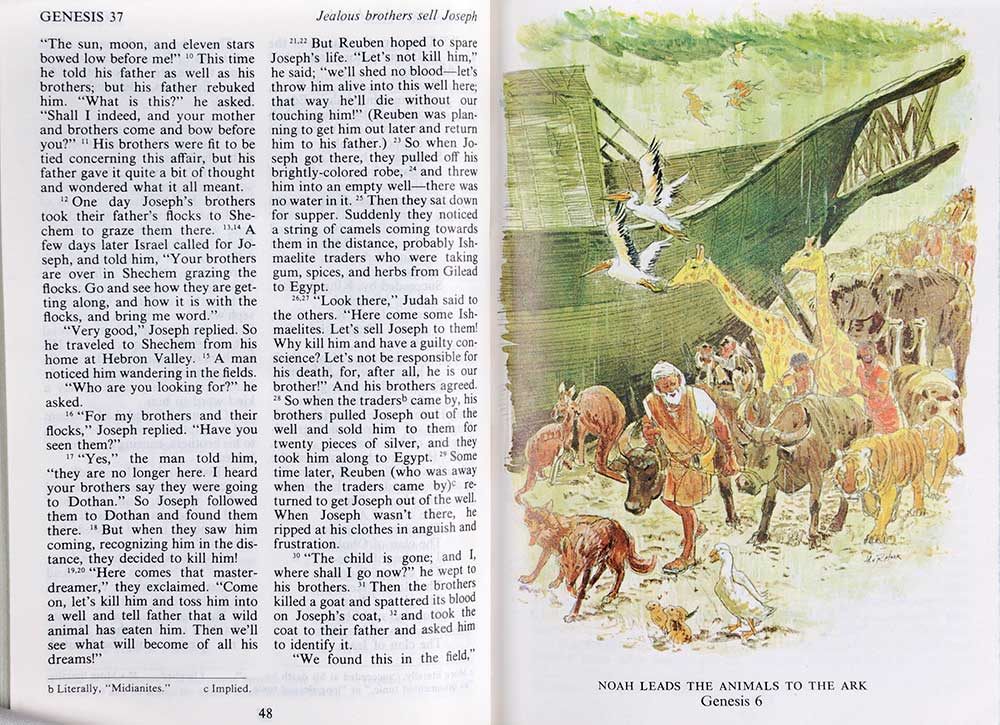 <em>The children's Living Bible: paraphrased.</em> Illustrated by Richard and Frances Hook. Wheaton, Ill.: Tyndale House Publishers, 1972.