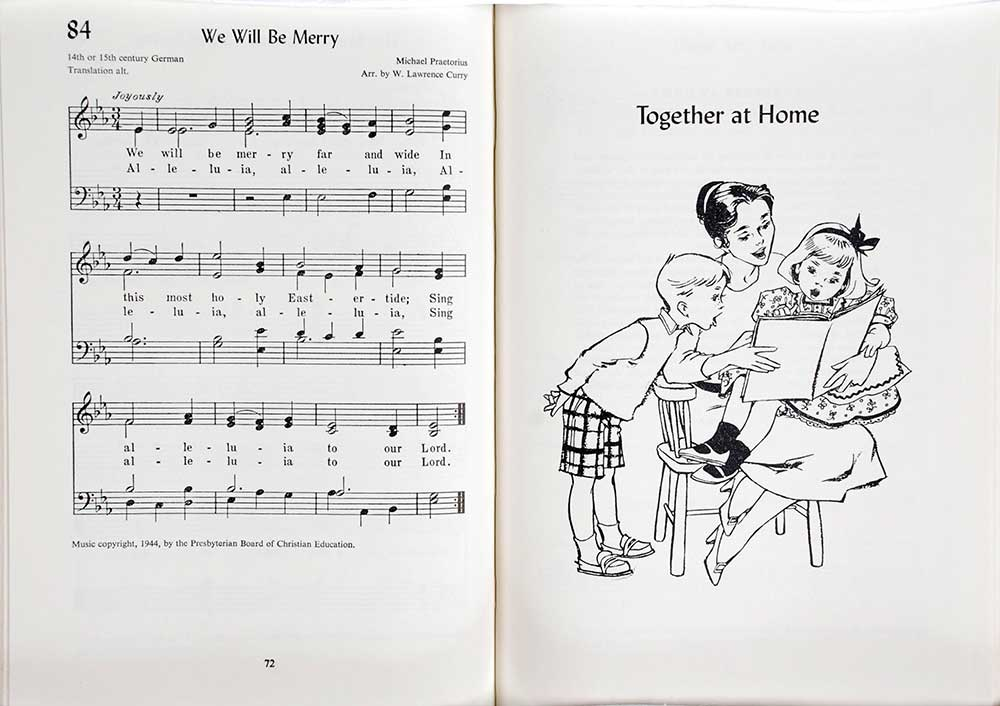 <em>Songs for early childhood at church and home.</em> Illustrated by Ann Eshner. Philadelphia: Westminster Press, 1958.