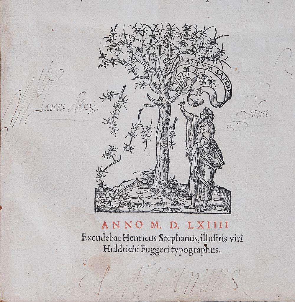 Thucydides. <em>Thucydidis Olori filii de bello Peloponnesiaco libri octo.</em> Venice: Excudebat Henricus Stephanus, illustris viri Huldrichi Fuggeri typographus, 1564.
