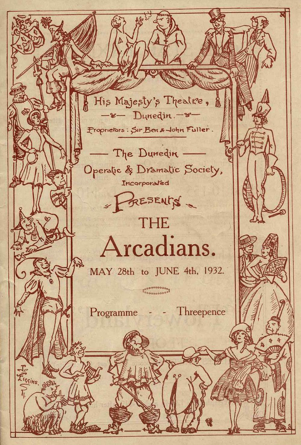 <em>The Arcadians</em>. Book by Mark Ambient and Alexander M. Thompson; lyrics by Arthur Wimperis; music by Lionel Monckton and Howard Talbot. (Dunedin Operatic & Dramatic Society). His Majesty's Theatre, Dunedin, May 28-June 4, 1932.