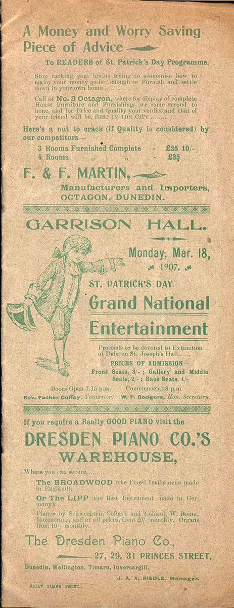<em>St. Patrick's Day grand national entertainment</em>. Garrison Hall, Dunedin, Mar. 18, 1907.