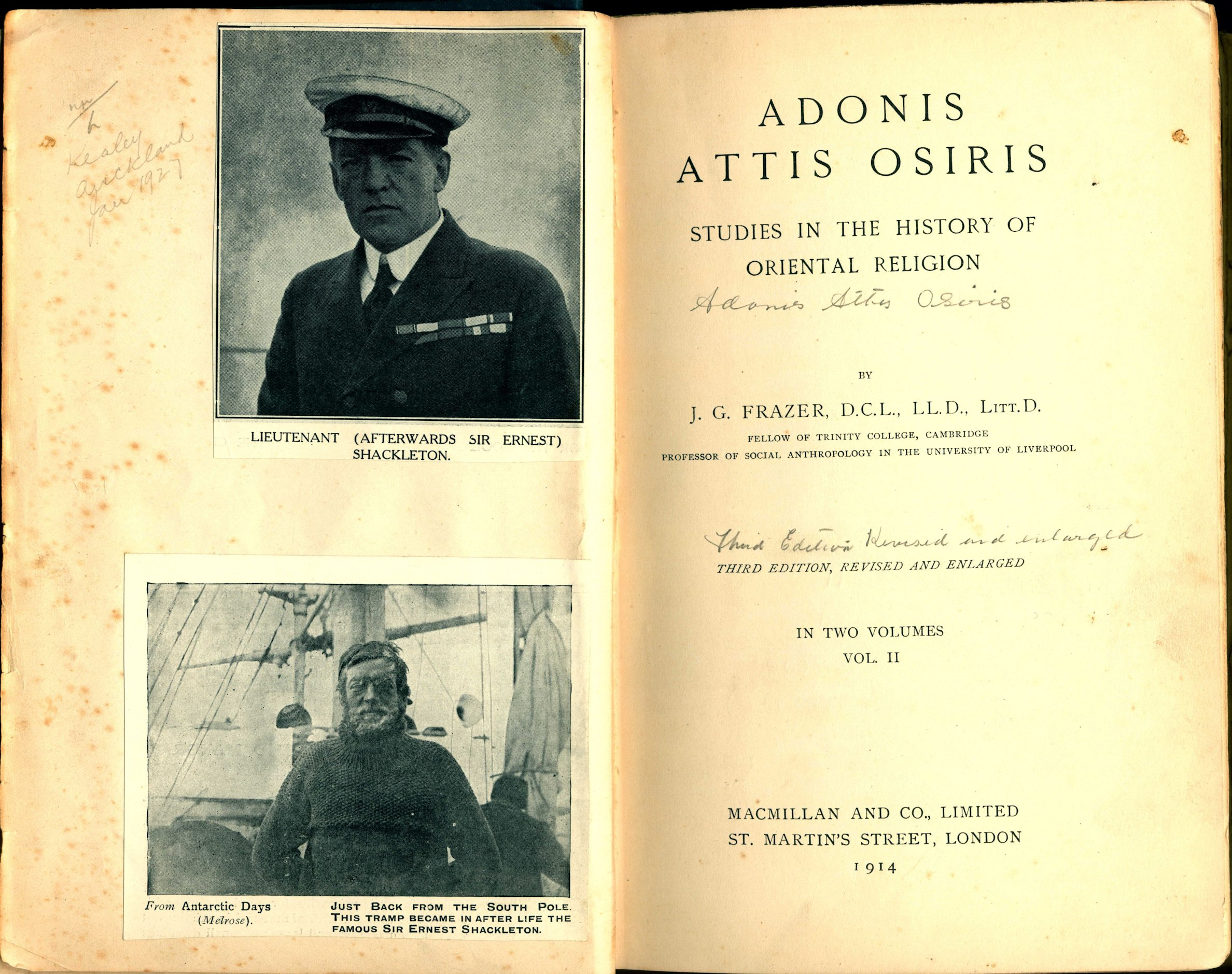 James George Frazer. Adonis, Attis, Osiris: studies in the history of oriental religion. 3rd edition. London: Macmillan, 1914. Two volumes; Vol. 2 displayed.