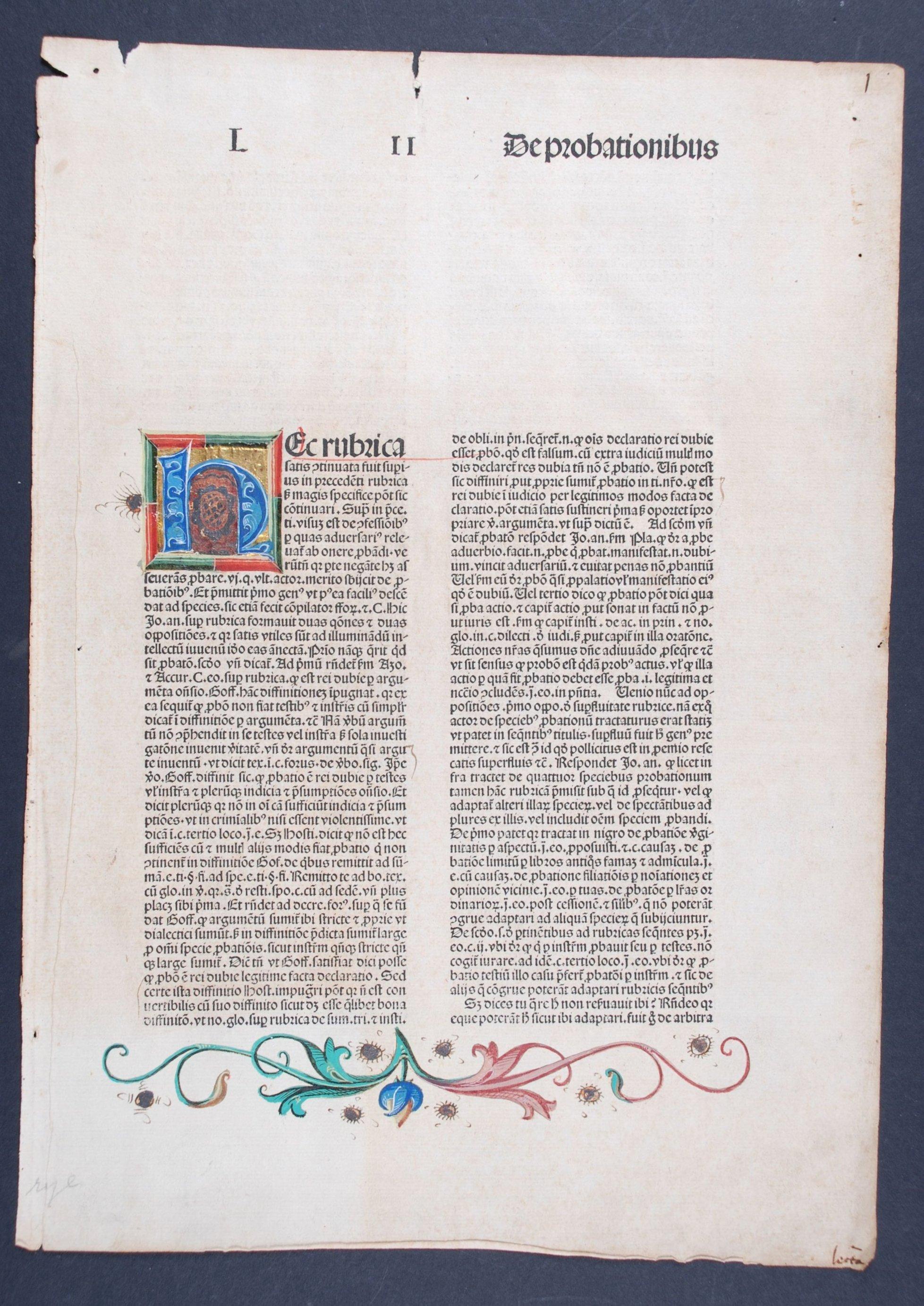 Single leaf from: Niccolò de' Tudeschi. Lectura super V libris Decretalium. Basel: Johann Amerbach, 1487-1488.
