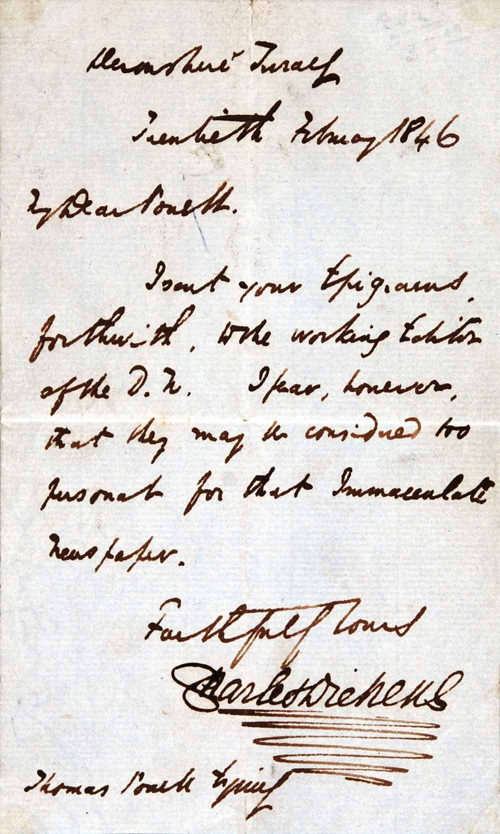 Letter. Charles Dickens to Thomas Powell, 1 Devonshire Terrace, 20 February 1846