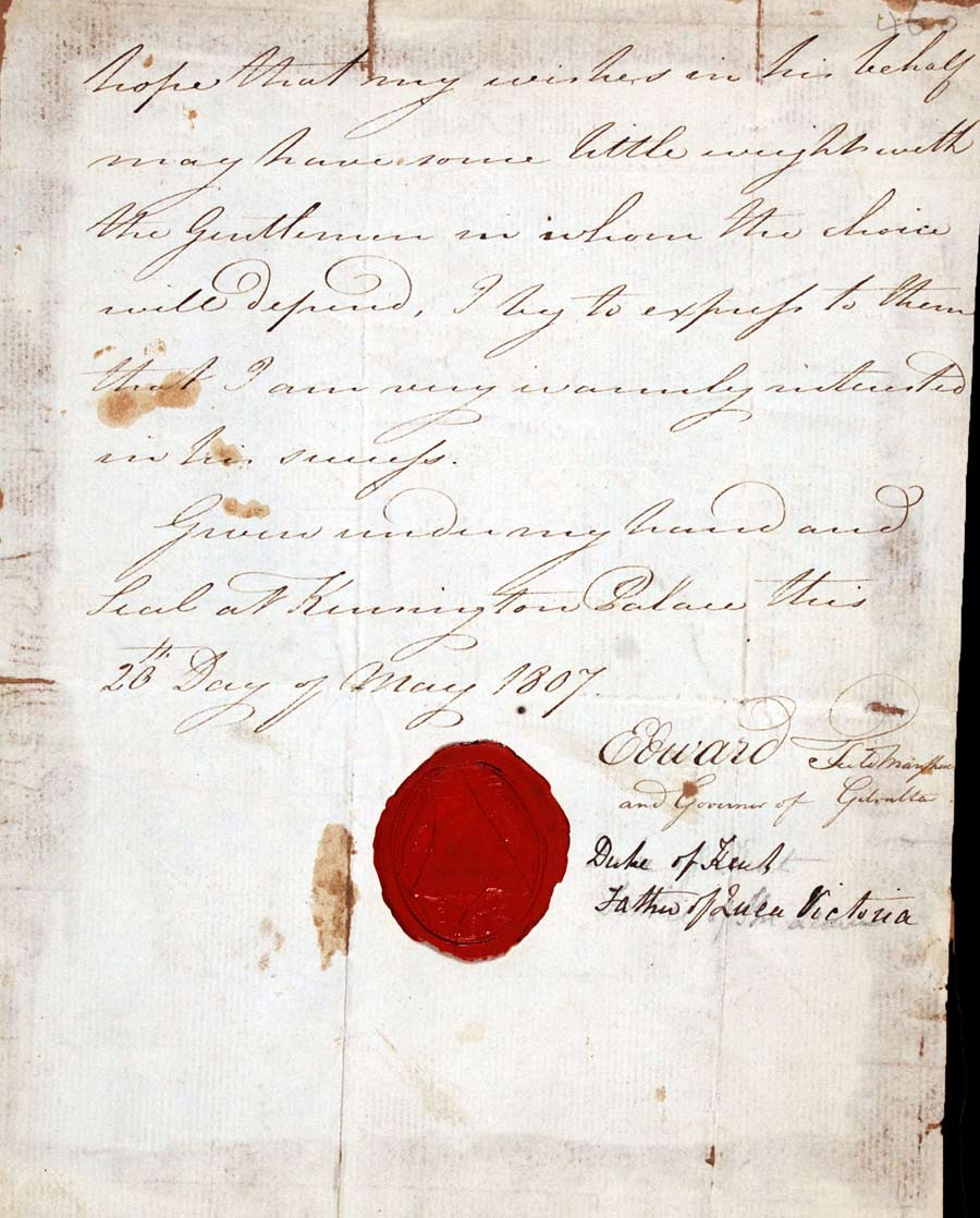 Partial letter signed. Prince Edward, Duke of Kent and Strathearn (1767–1820), Kensington Palace, 20 May 1807.
