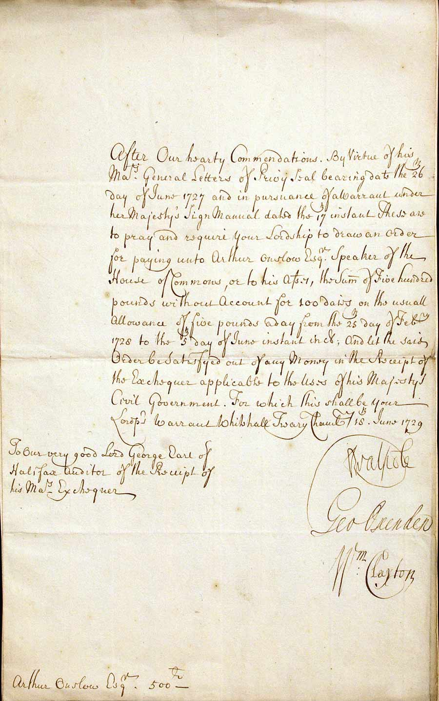Warrant signed. Robert Walpole, 1st Earl of Orford (1676–1745), to George Montagu, 1st Earl of Halifax (1685–1739), Whitehall, 18 June 1729.
