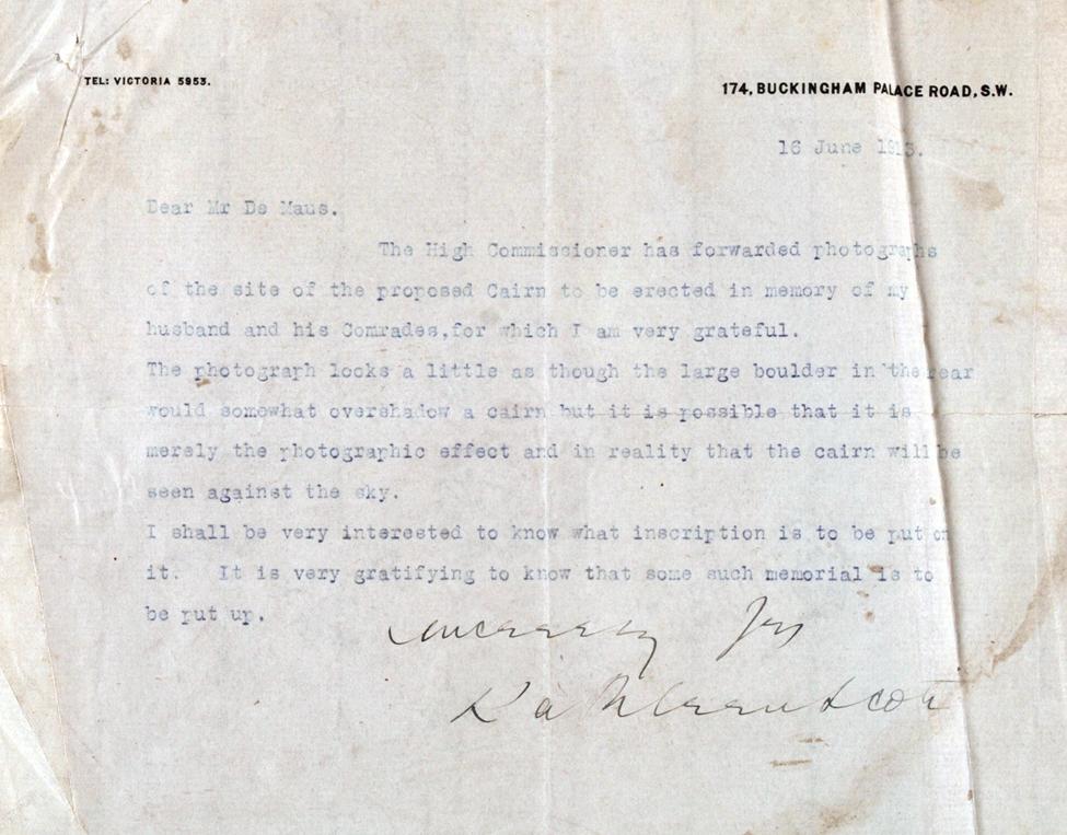 Letter. Lady Kathleen Scott to David Alexander De Maus, 174 Buckingham Palace Road, London, 16 June 1913.