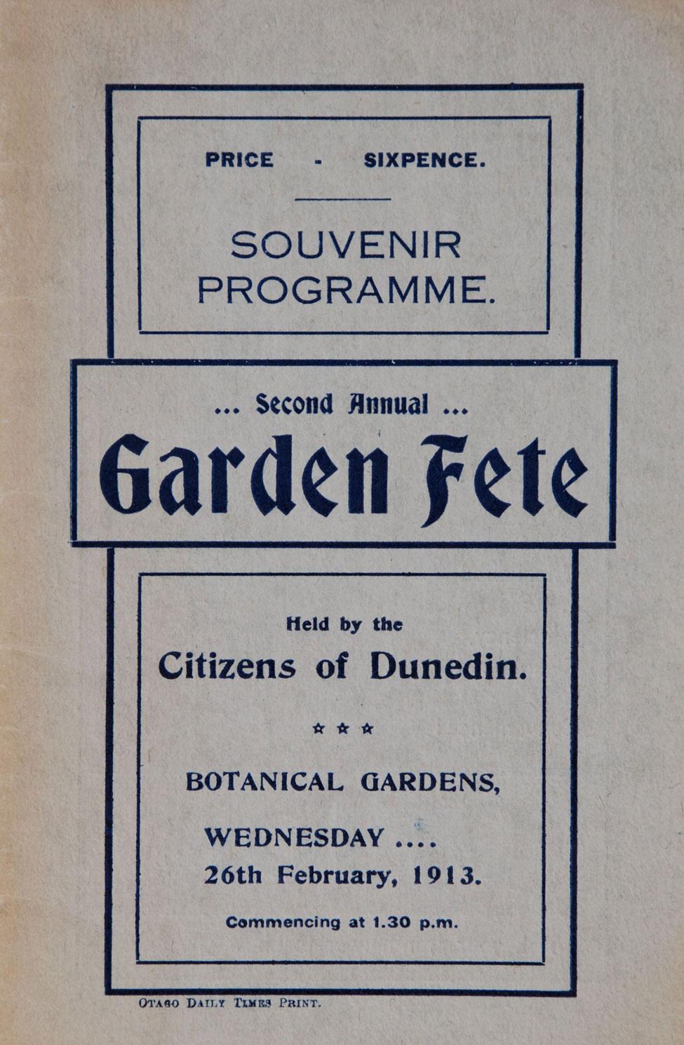 Souvenir Programme.. Second Annual Garden Fête