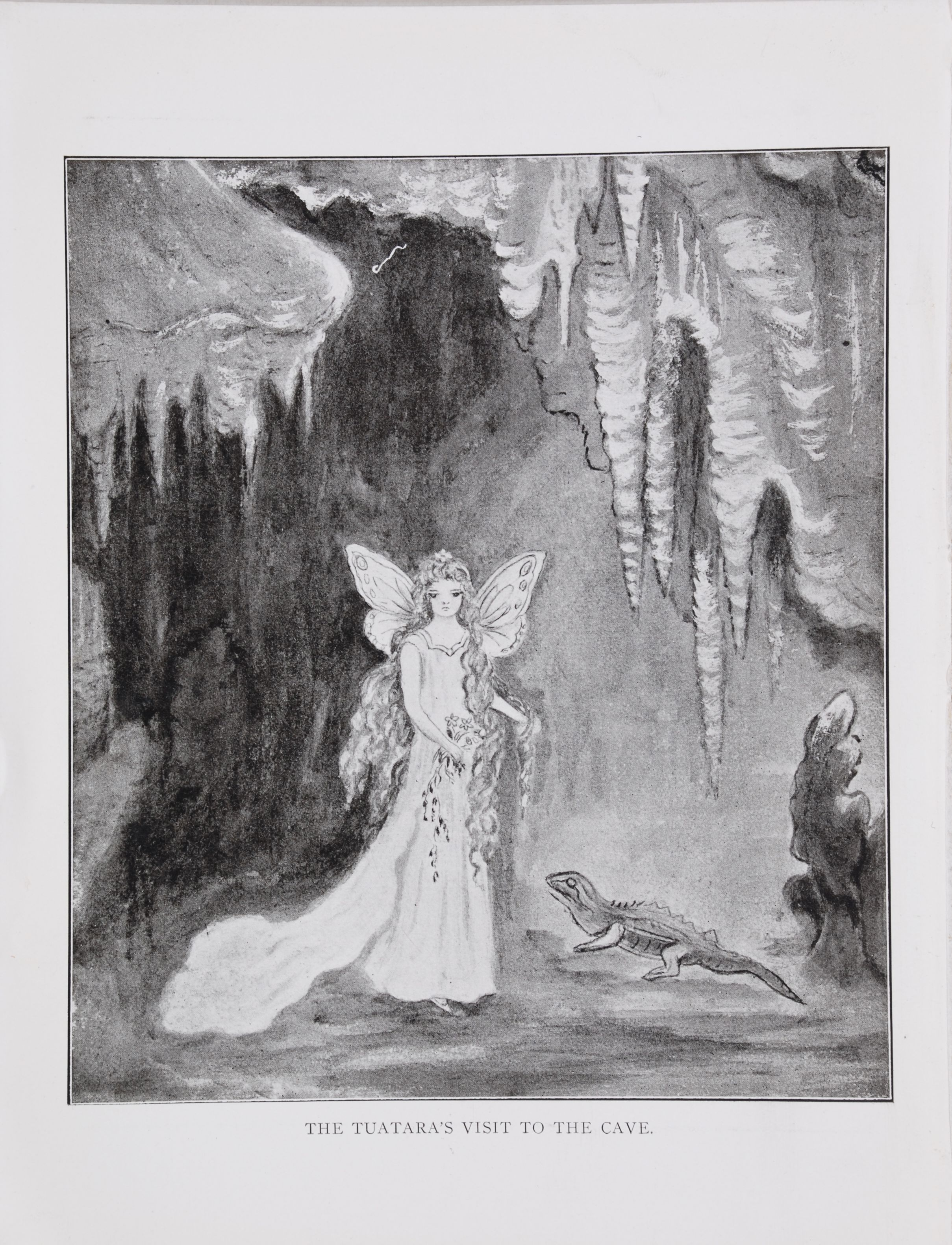 Sarah Rebecca Moore. Fairyland in New Zealand : a story of the caves by Mrs. Ambrose E. Moore, illustrated by Miss E.C. Harris. Auckland: Brett Printing and Publishing [1909].