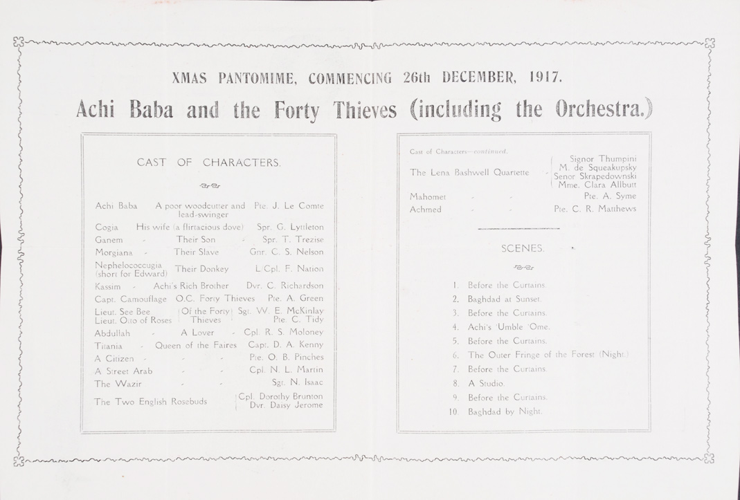 Achi Baba and the Forty Thieves. Christmas Pantomime. New Zealand Divisional Theatre, 26 December 1917