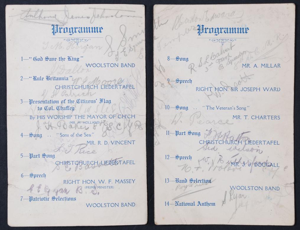 Smoking Concert and Entertainment. Autographed Programme. King Edward Barracks, Christchurch, 5 September 1914