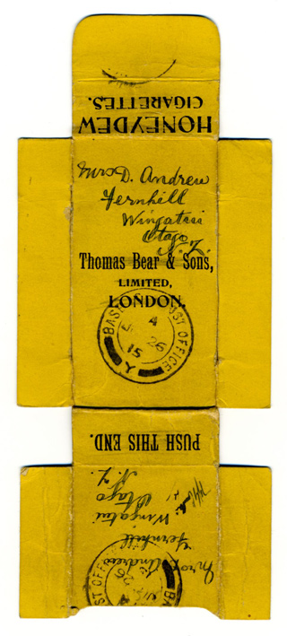 Fred to Mrs A Andrew, Fernhill, Wingatui, Otago. Letter Written on Cigarette Box. 16 June 1915