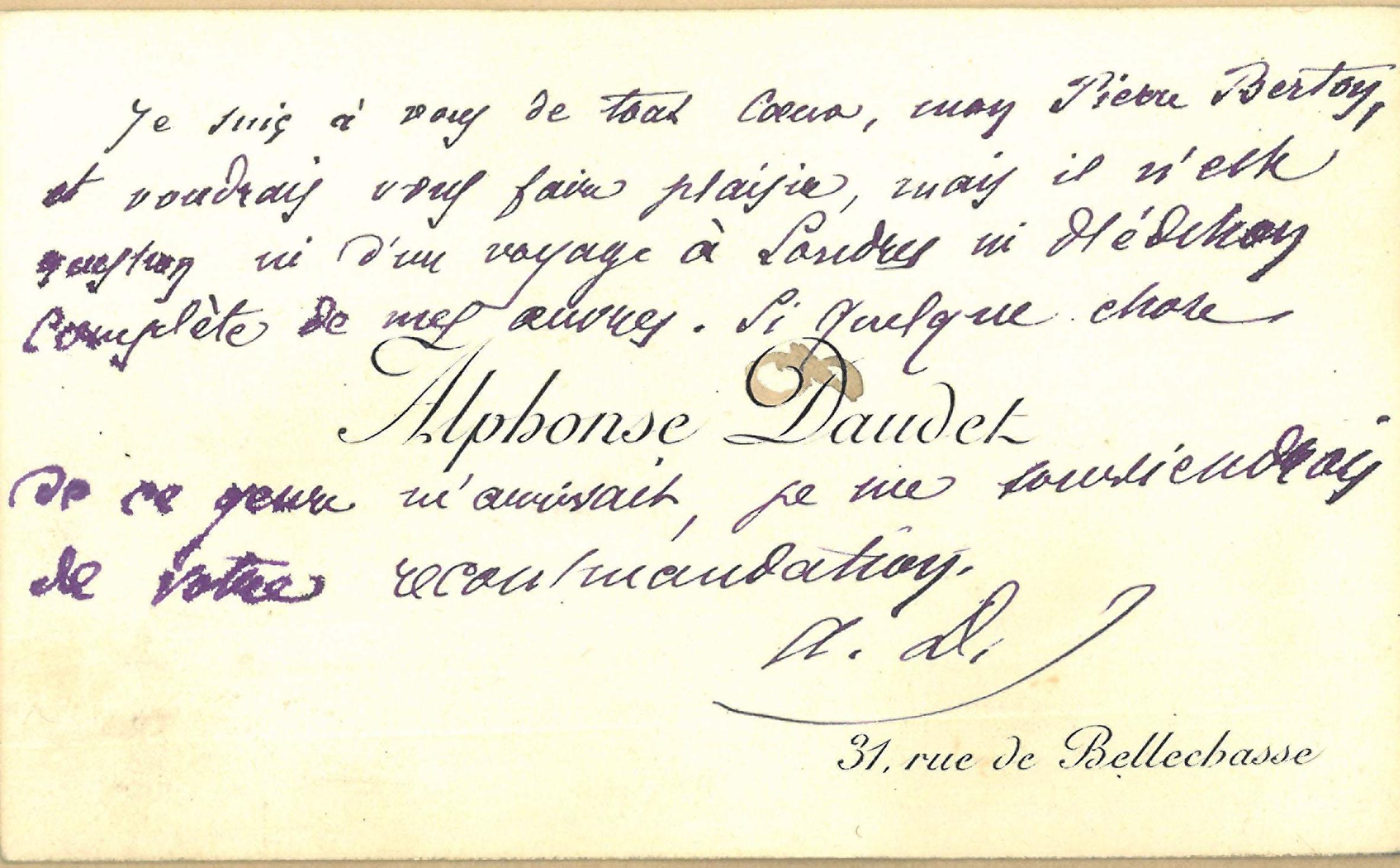 Alphonse Daudet (1840-1897) to Pierre Berton (?-?) n. d.