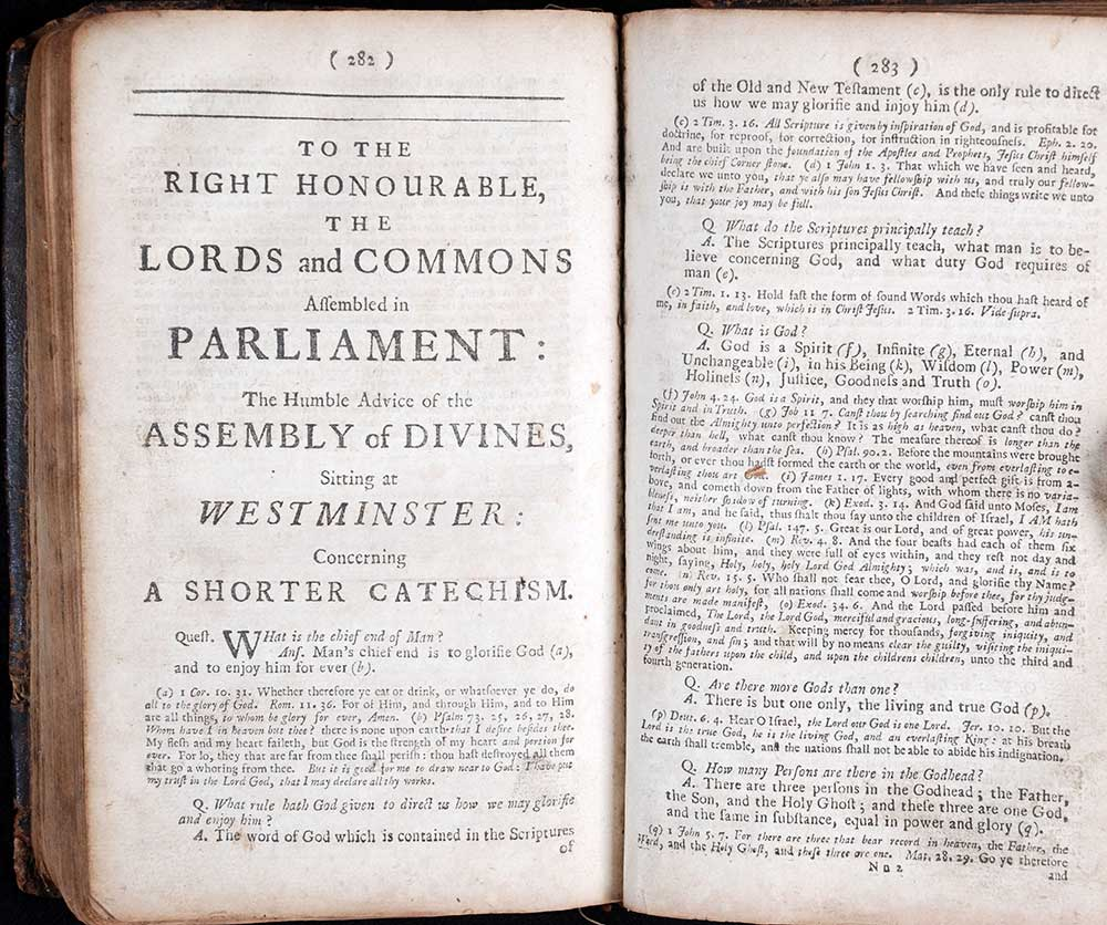 Westminster Assembly. <em>The confession of faith, together with the larger and lesser catechisms.</em> 5th edition. London: Printed by S. Cruttenden and T. Cox, at the Bible and Three Crowns in Cheapside, near Mercers-Chappel, 1717.