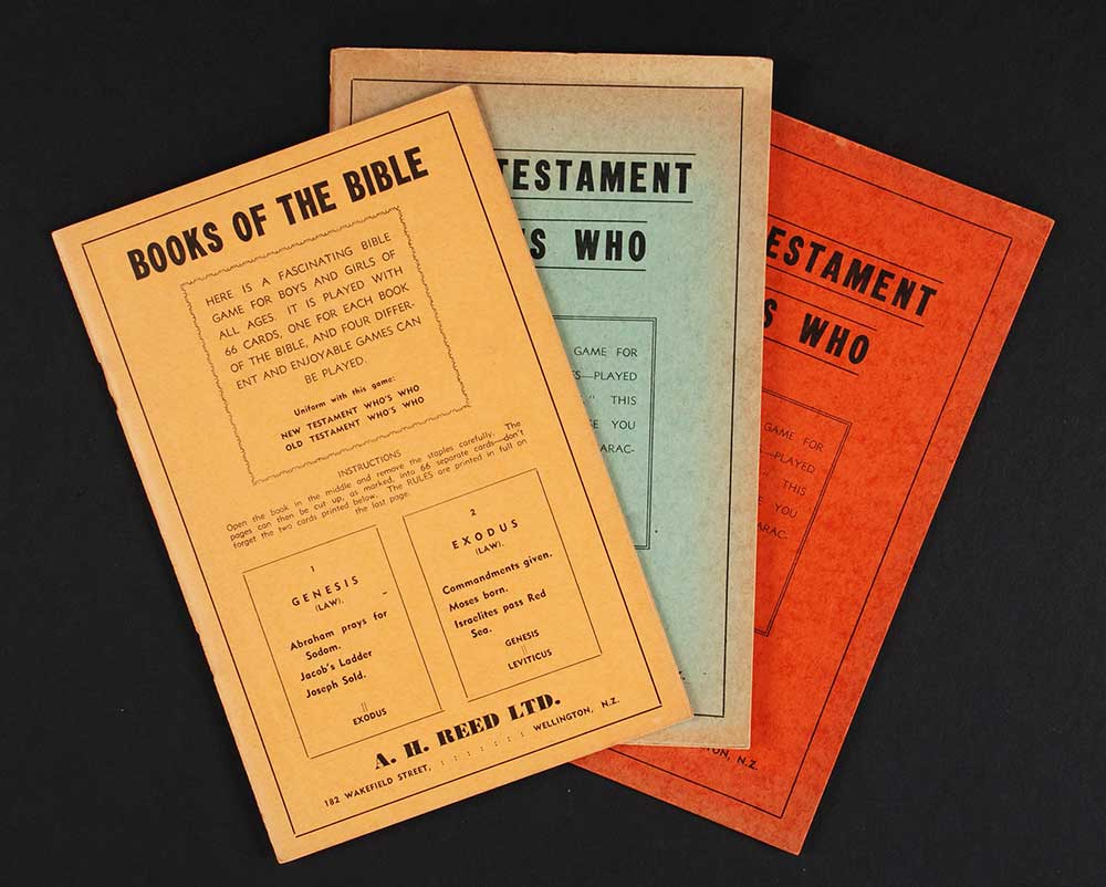 <em>Books of the Bible; New Testament who's who; Old Testament who's who.</em> Wellington: A.H. & A.W. Reed, [194-?]