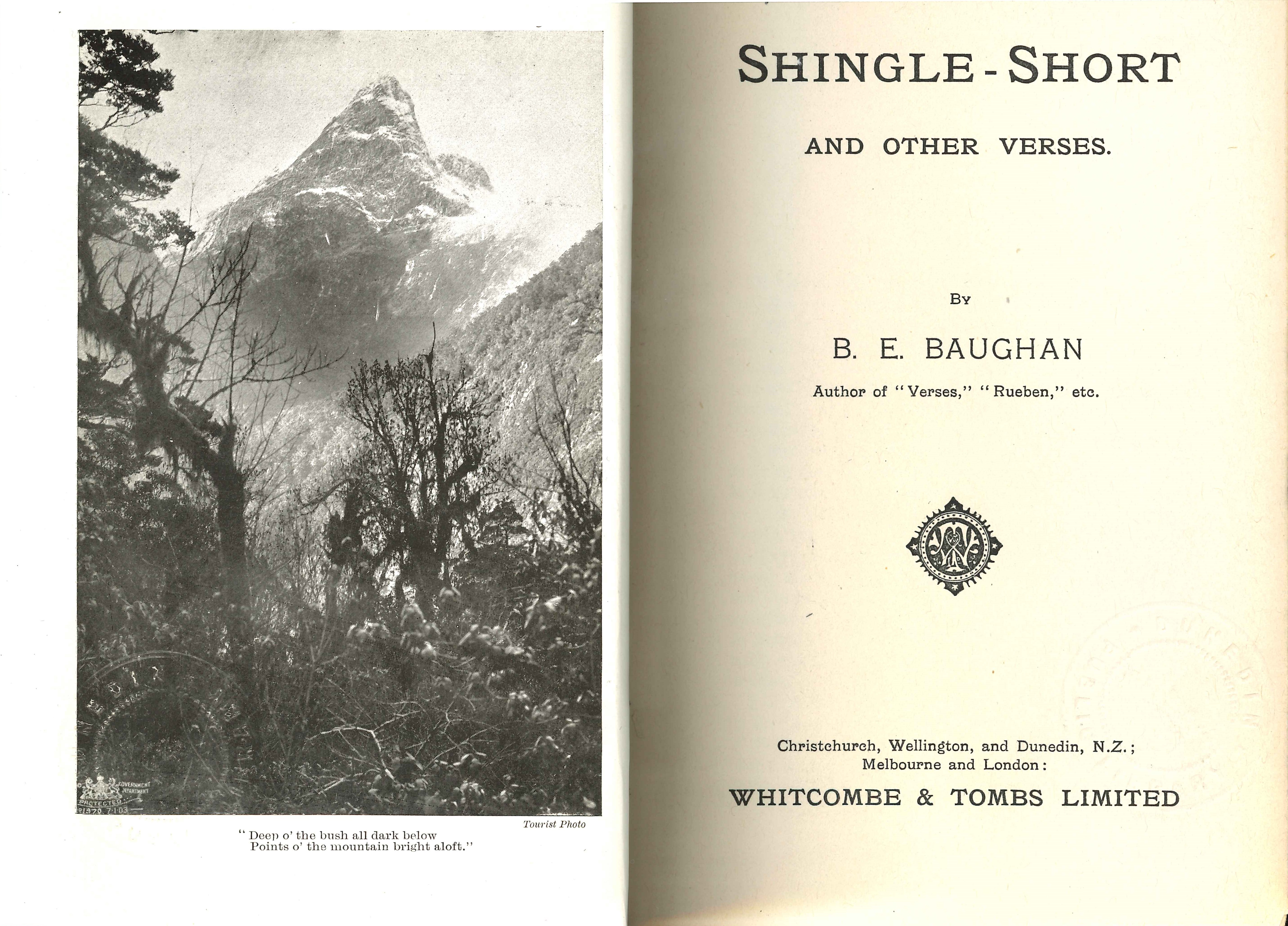 Blanche Baughan. Shingle-short and other verses. Christchurch: Whitcombe & Tombs, 1908.