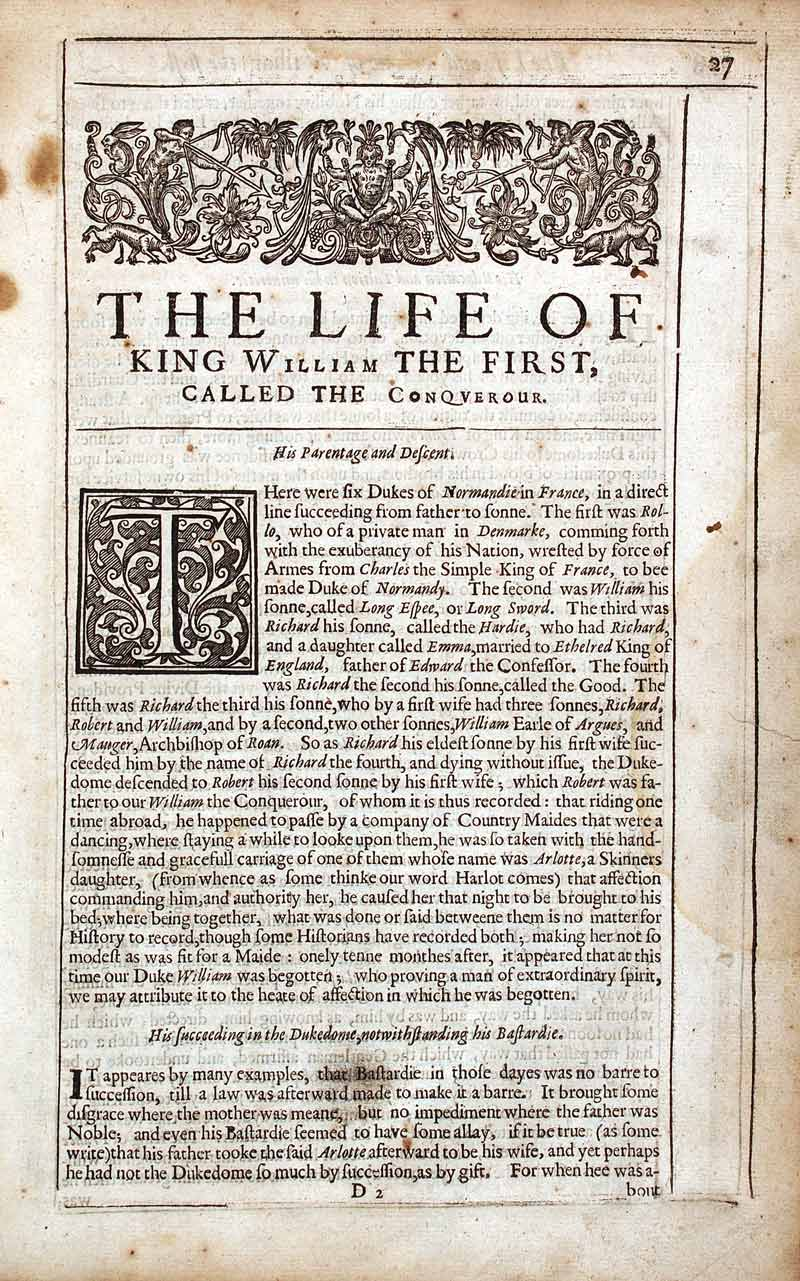 Richard Baker. A chronicle of the kings of England from the time of the Romans government unto the raigne of our soveraigne Lord King Charles…. London: Printed for Daniel Frere, 1643.