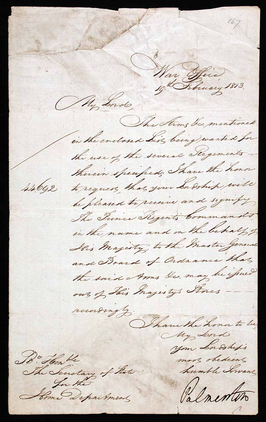 Document signed. Henry John Temple, 3rd Viscount Palmerston (1784–1865), to Henry Addington, 1st Viscount Sidmouth (1757–1844), War Office, 19 February 1813.