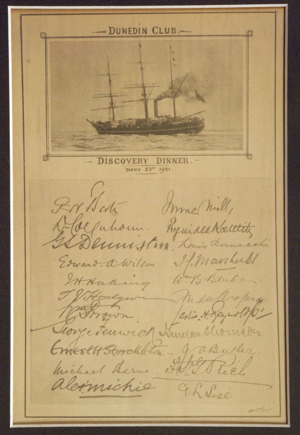 'Discovery Dinner' memento [framed], signed by Robert Falcon Scott, Edward Wilson, Ernest Shackleton and other members of the Discovery expedition crew, Dunedin Club, 23 December 1901