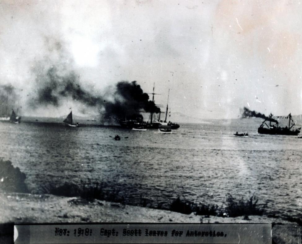 Photograph (copy). The <i>Terra Nova</i> in Otago Harbour, November 1910.