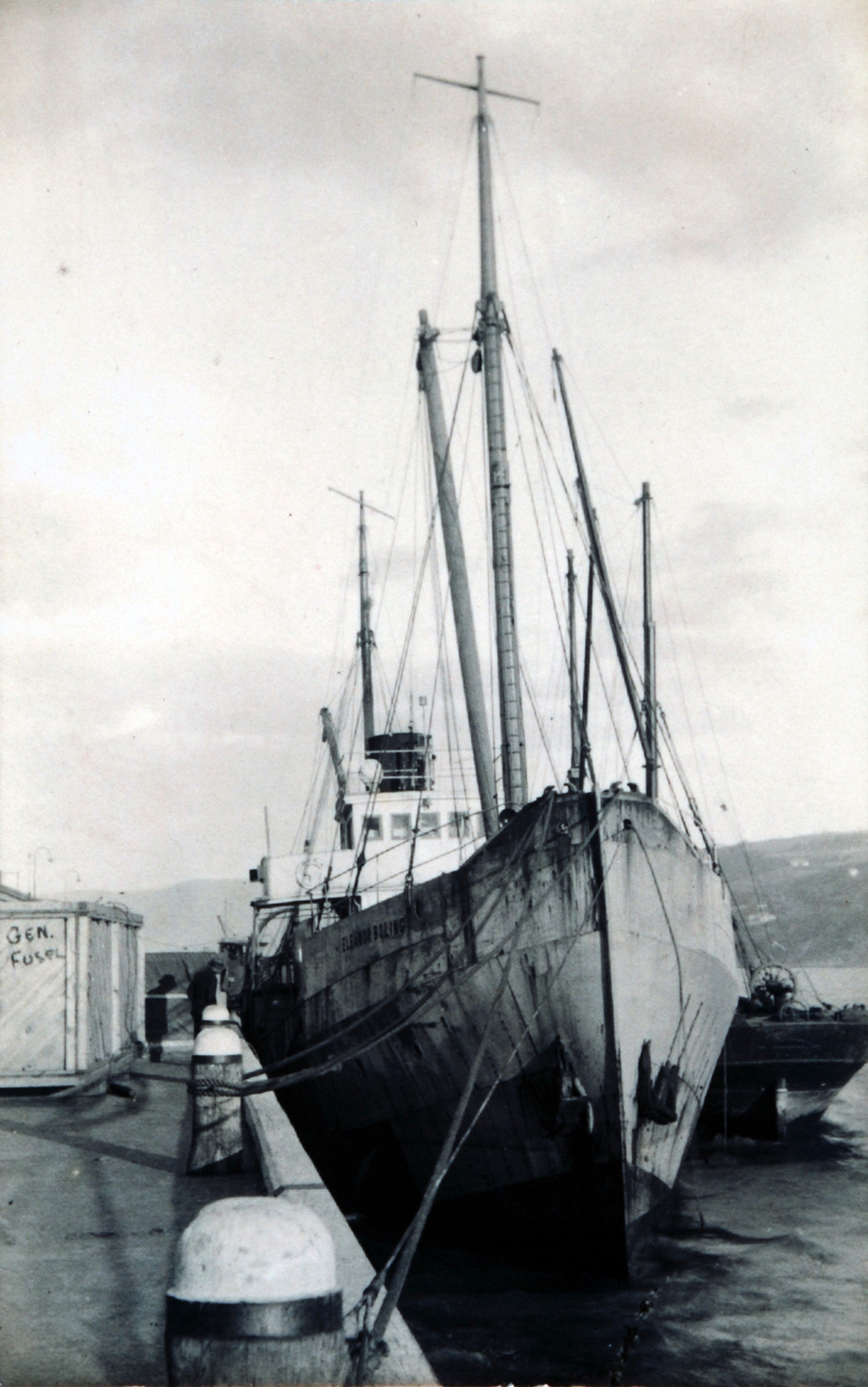 Photographs (copies). Byrd expedition ship <i>Eleanor Bolling</i>, 20 January 1930; one of two.
