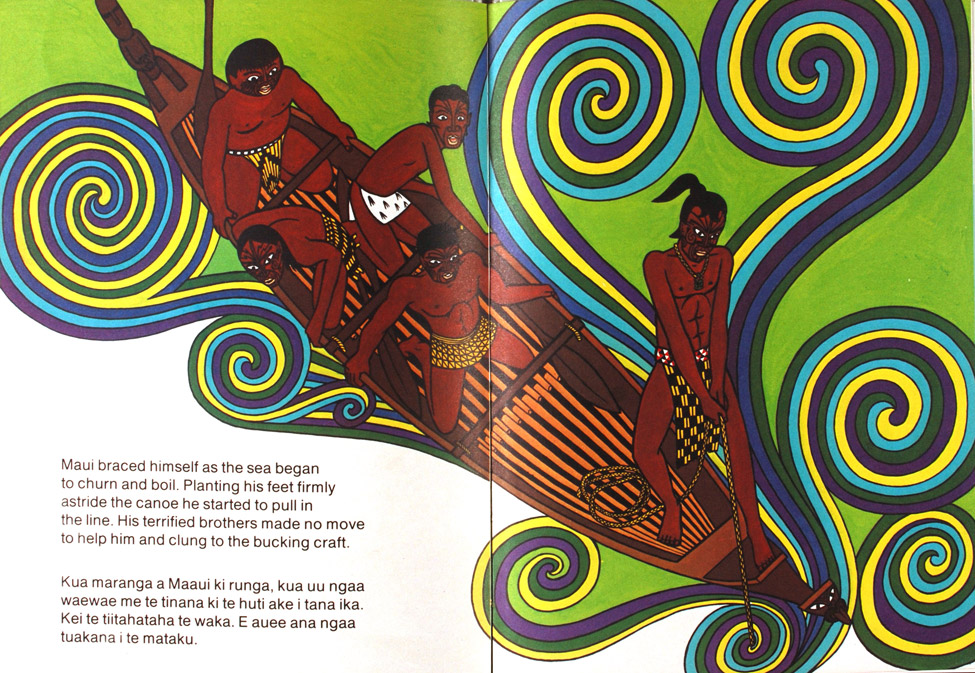 <i>The Fish of Maui: Te Ika a Maaui; Written and Illustrated by Peter Gossage; Translated to Maori by Merimeri Penfold. </i> Auckland: Lansdowne Press, 1981.