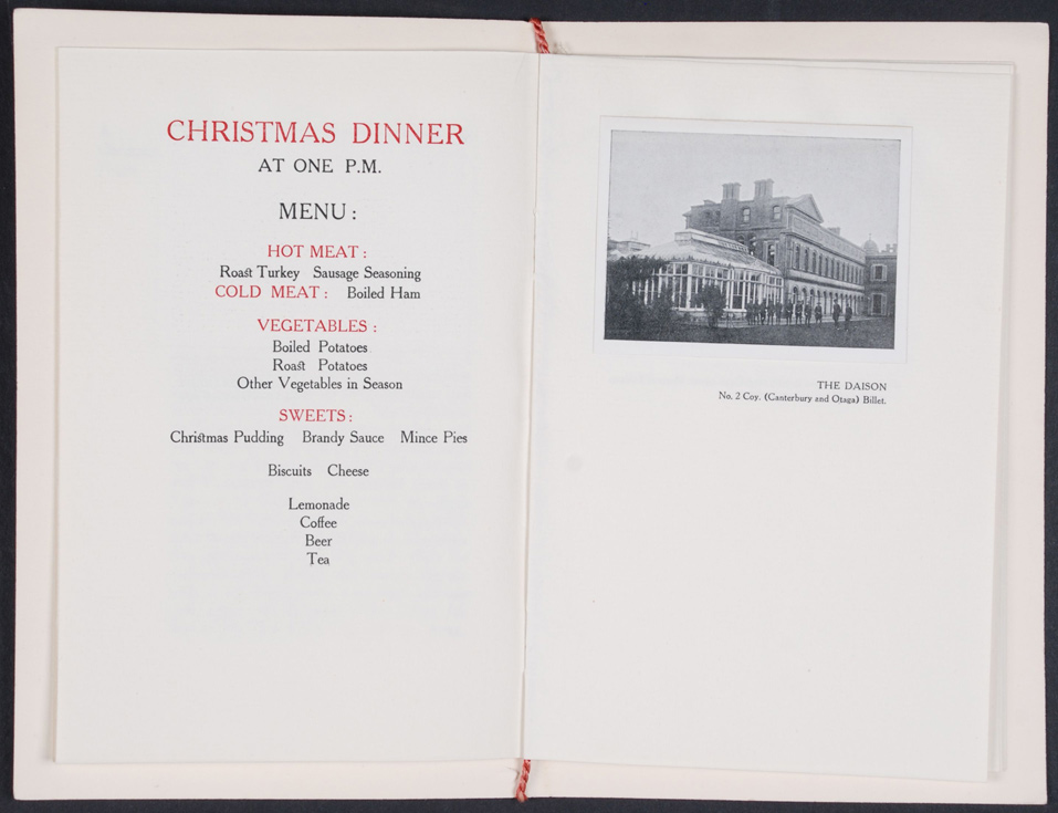 Order of Service and Souvenir of Christmas. Torquay, England: New Zealand Discharge Depot, 1918