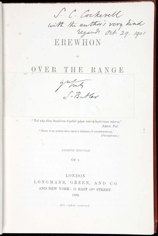 Samuel Butler. <em>Erewhon, or, Over the range</em>. 8th edition. London: Longmans, Green, 1890.