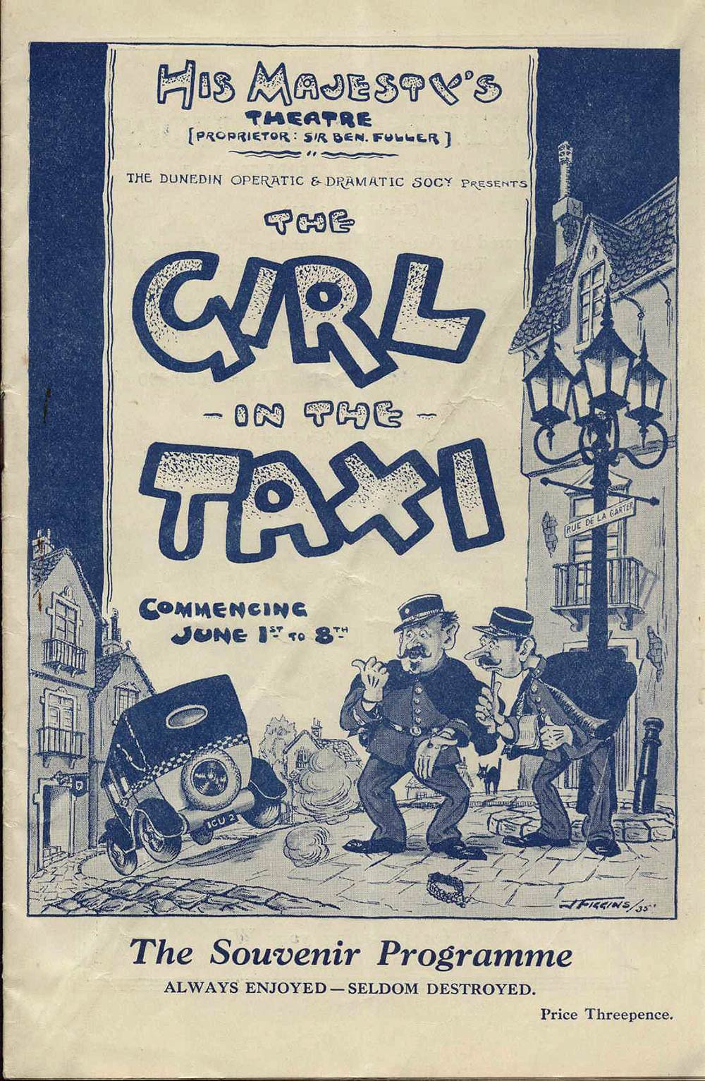 <em>The girl in the taxi</em>. Music by Jean Gilbert. (Dunedin Operatic & Dramatic Society). His Majesty's Theatre, Dunedin, June 1-8, 1935.