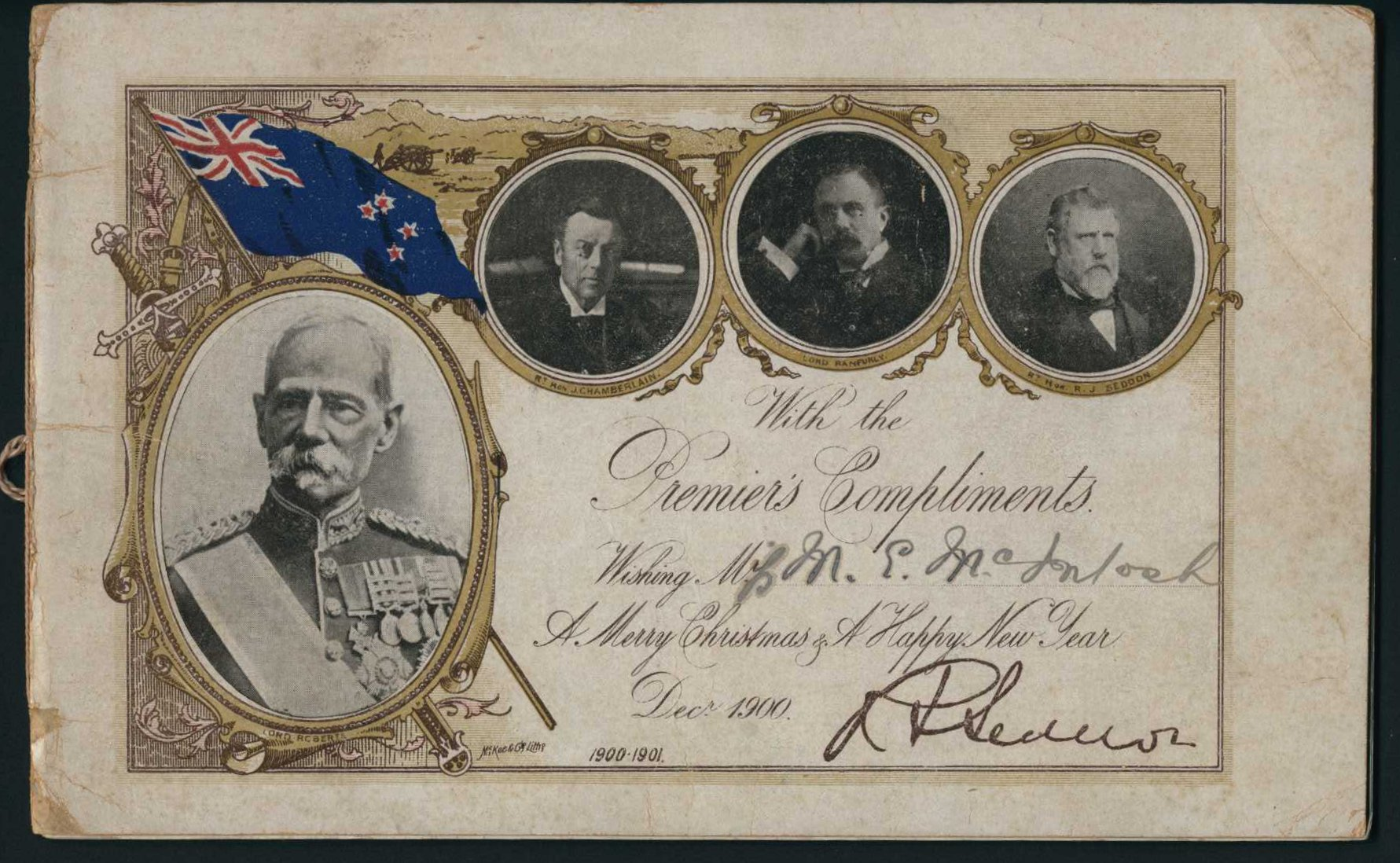 Christmas cards sent by the Premier, R.J. Seddon
