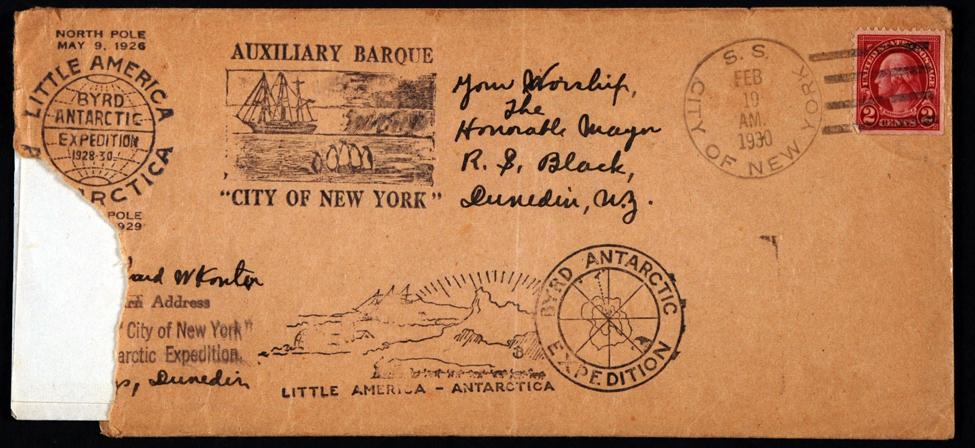 Envelope. Richard N. Konter to Your Worship the Honorable Mayor R.S. Black, Dunedin, N.Z., <i>City of New York</i>, 19 February 1930.