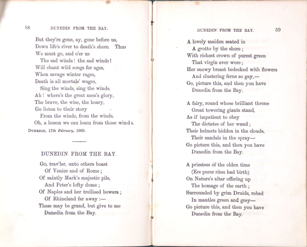Thomas Bracken. <em>Behind the Tomb and other poems.</em> Melbourne: Clarson, Massina and Co., 1871.