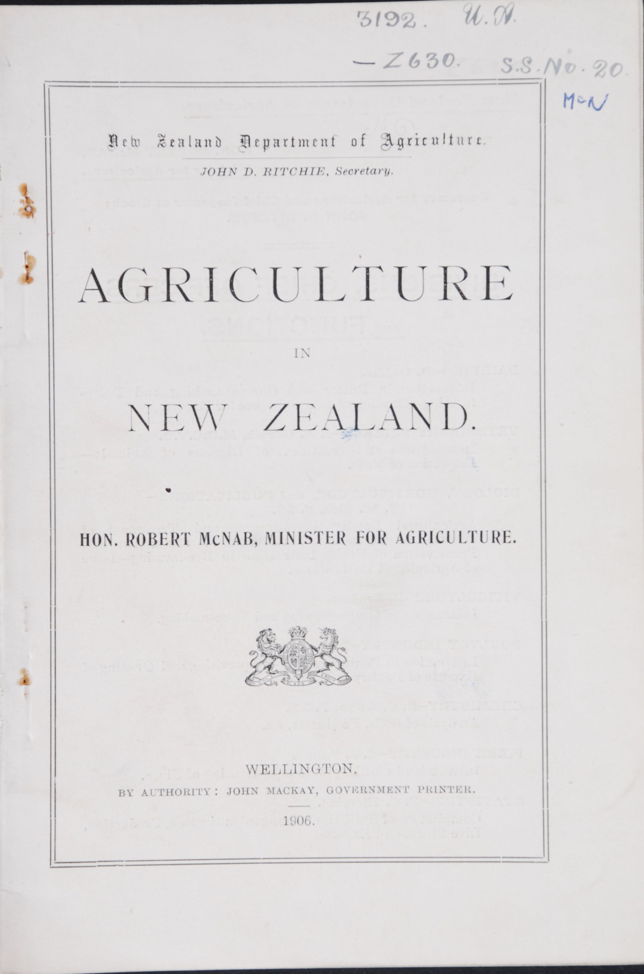 Robert McNab. Agriculture in New Zealand.  Wellington: Government Printer, 1906.