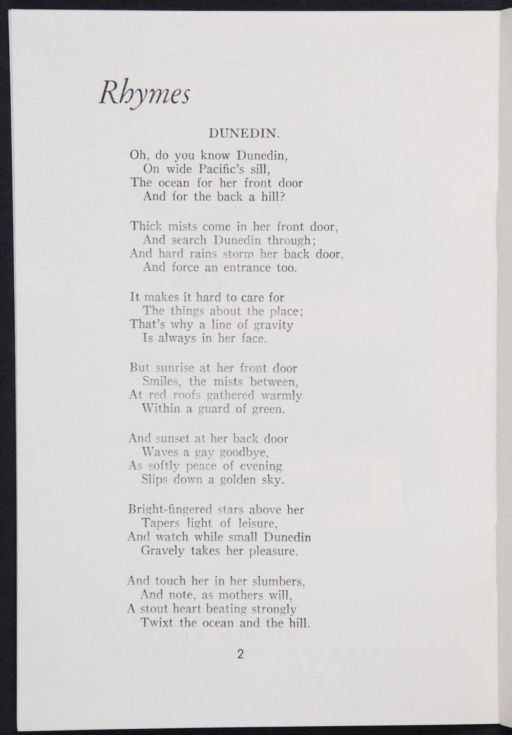 Pansy McLachlan. <em>Dunedin rhymes and times.</em> Dunedin: Stewart, Smith & Hall, [1965]