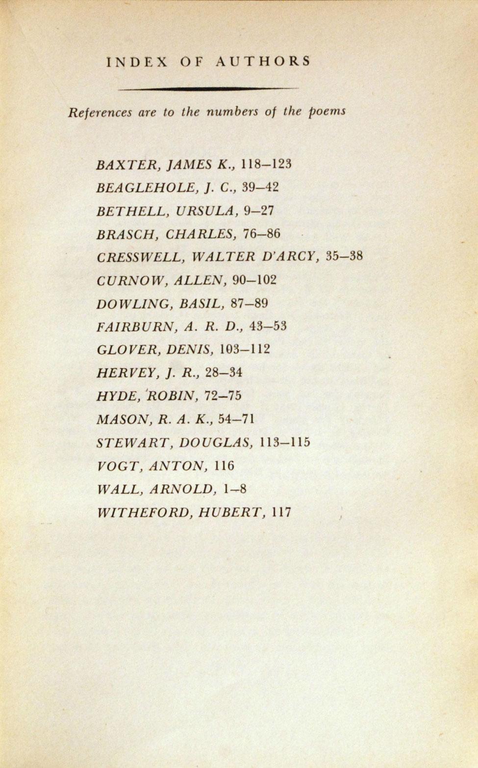 Allen Curnow (ed.). A Book of New Zealand Verse, 1923–45. <i>Christchurch: The Caxton Press, 1945.</i>